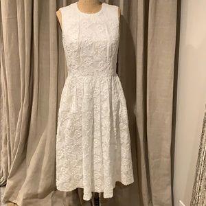 Michael Kors wht cotton dress with floral detail